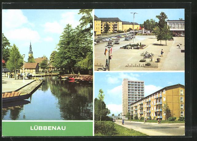 AK Lübbenau, Hafen, Roter Platz, Strasse der Jugend