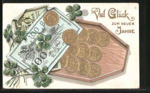 Präge-AK Münz-Geld, Banknoten und Glücksklee