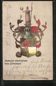 AK Studentenwappen Euphorion, Akademisch-kulturhistorischer Verein, Wappen mit Ritterhelm & Siegesgöttin