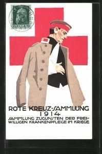 Künstler-AK Ludwig Hohlwein: Rote Kreuz Sammlung 1914, verwundeter Soldat mit Armschlaufe