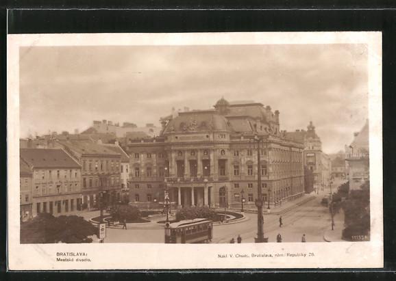 AK Bratislava, Mestské divadlo, Strassenbahn