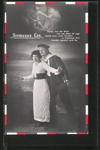 AK Seemanns-Los, Matrose in Uniform mit seiner Liebsten