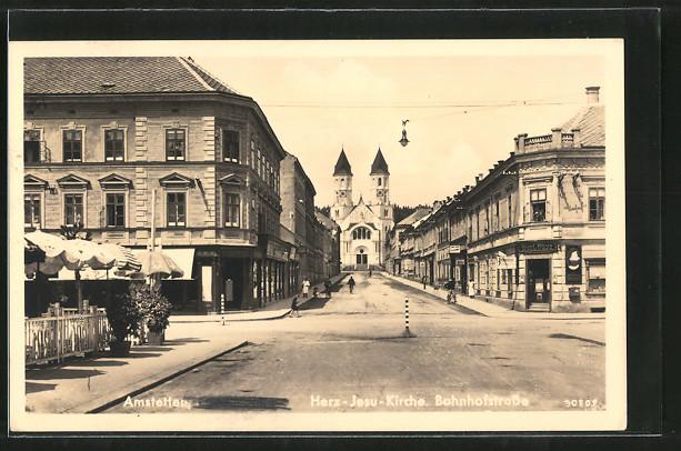 AK Amstetten, Herz-Jesu-Kirche, Bahnhofstrasse