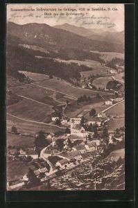AK Schwarzau, Ortsansicht von der Herrengrotte gesehen