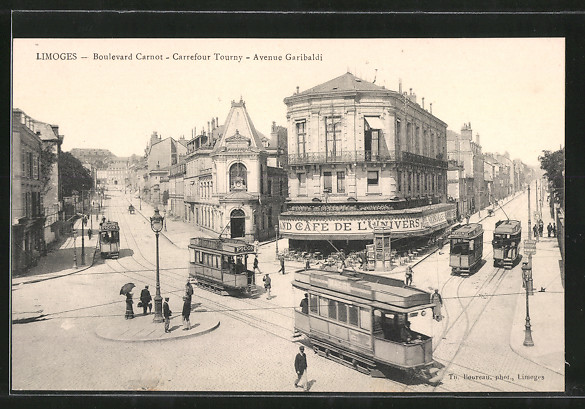 AK Limoges, Boulevard Carbot - Carrefour Tourny - Avenue Garibaldi, Strassenbahn