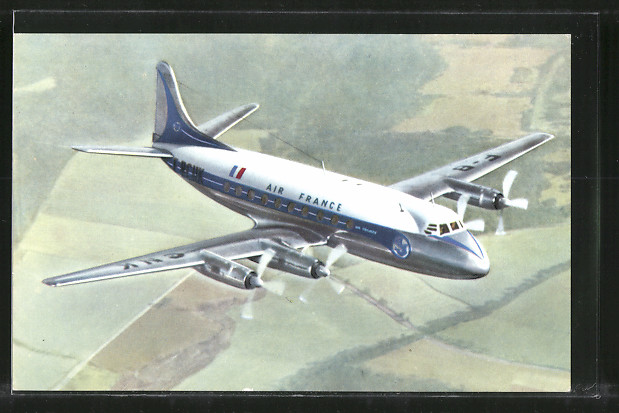 AK Flugzeug Vickers Viscount der Air France