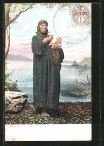 AK Femme Fellah avec Enfant, Fellachin mit Kleinkind