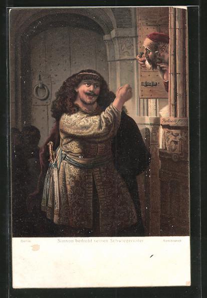 Künstler-AK Stengel & Co. Nr. 29741: Simson bedroht seinen Schwiegervater