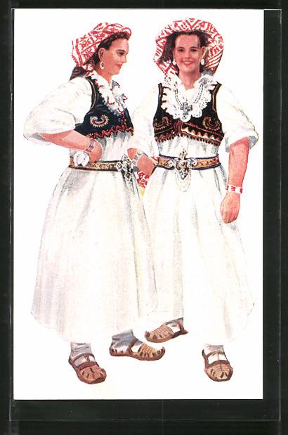 Künstler-AK Kroatische Volkstrachten, Junge Frauen aus Bosnien, Cajdras