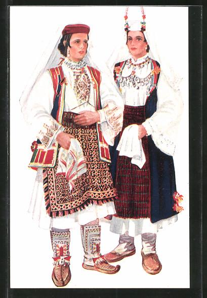 Künstler-AK Kroatische Volkstrachten, Frauen aus Dalmatien, Vrlika und Sinj