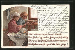 Künstler-Lithographie Polisseusen bei der Arbeit