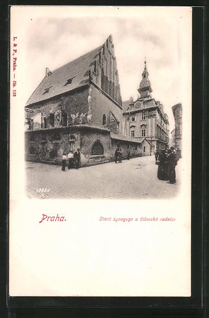 AK Praha / Prag, Stará synagoga a zidovská radnice, Partie mit Synagoge