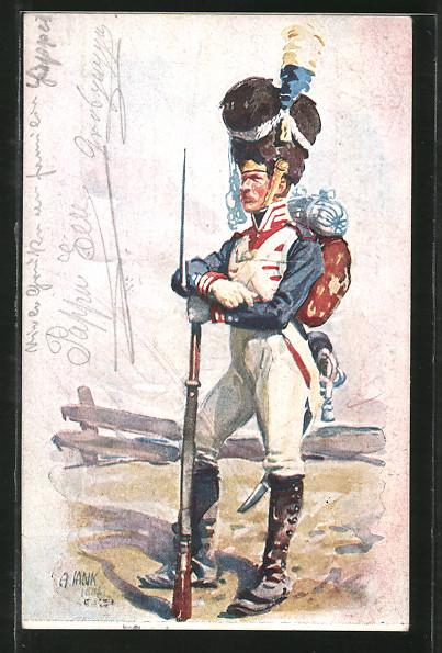 Künstler-AK Angelo Jank: Soldat in Uniform mit Gewehr und Gepäck