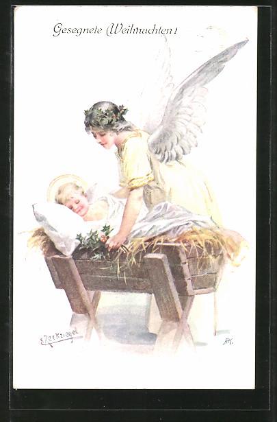 Künstler-AK E. Reckziegel: Engel beschützt Baby beim schlafen