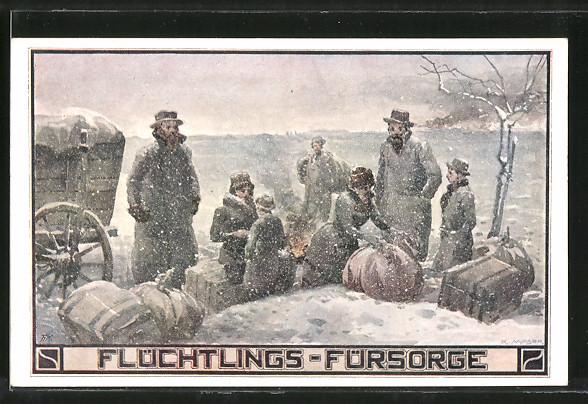 Künstler-AK Richard Moser: Flüchtlings-Fürsorge, Rast im Schnee