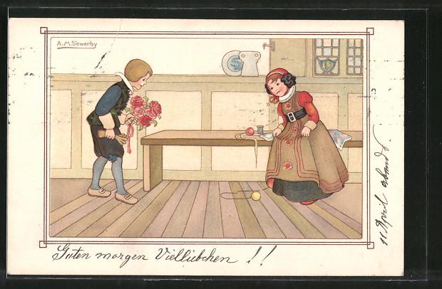 Künstler-AK sign. M. Sowerby: Kleines Paar im Mittelalter
