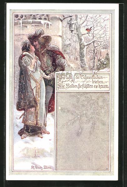 Künstler-AK Rud. Dutz: Und lustig die Schneeflocken trieben..., Edles Liebespaar im Mittelalter