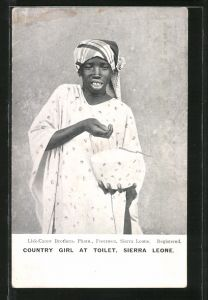 AK Sierra Leone, Country Girl at Toilet, Mädchen wäscht sich das Gesicht
