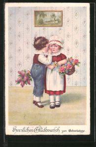AK Junge flüstert seiner Freundin etwas ins Ohr, Geburtstag
