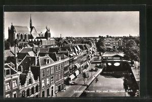 AK Leiden, Nieuwe Rijn met Hooglandse Kerk
