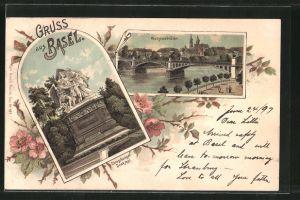 Lithographie Basel, Wettsteinbrücke, Strassburger Denkmal