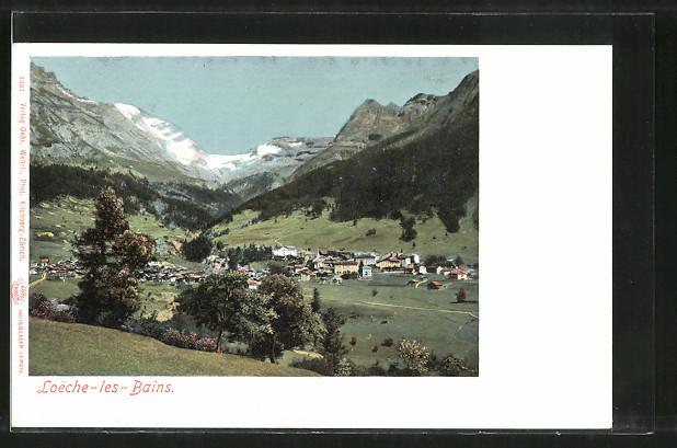 AK Leukerbad, Ortsansicht vom Hügel aus