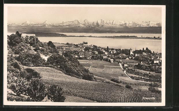 AK Neuveville, Ortsansicht vom Hügel aus