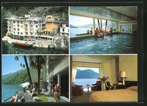 AK Ascona, Hotel Acapulco, Innen - und Aussenansicht