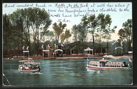 AK Halle / Saale, Gasthaus Kurzhals auf der Rabeninsel, Dampfer