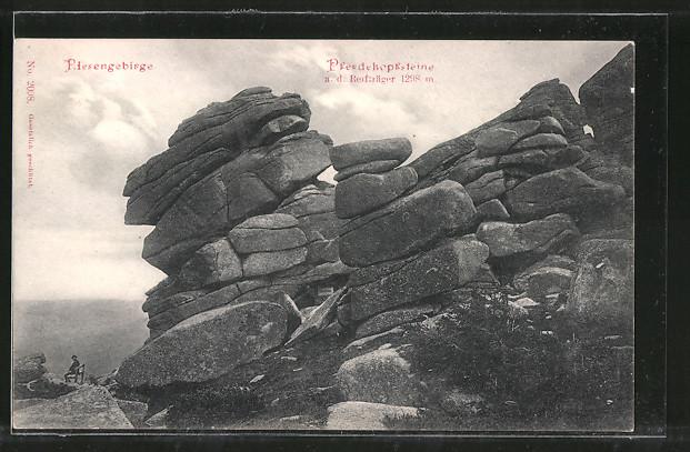 AK Pferdekopfsteine auf dem Reifträger, Gesteinsformation im Riesengebirge