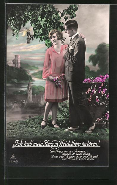 Foto-AK Photochemie Berlin Nr. 5634/5: Ich hab' mein Herz in Heidelberg verloren!, Und fragt ihr den Gesellen...