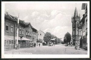 AK Güsten, Bahnhofstrasse mit Hotel Deutsches Haus