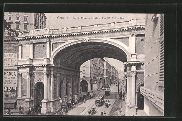 AK Genova, Ponte Monumentale e Via XX Settembre, Strassenbahnen