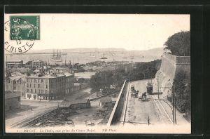AK Brest, la rade, vue prise du cours Dajot, Strassenbahn