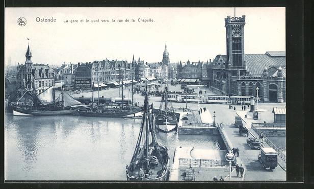 AK Ostende, la gare et le pont vers la rue d la Chapelle, Strassenbahn