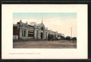 AK Fremantle, Railway Station, Bahnhof, Pferdekutsche