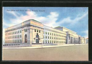 AK Toronto, Post Office and Union Station, Bahnhof und Post