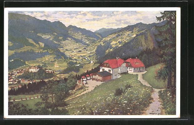 Künstler-AK Otto Stoitzner: Stolzalpe, Panorama mit Alpengasthof Rahmhube