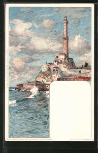 Künstler-AK Manuel Wielandt: Genova-Genua, Partie am Leuchtturm