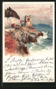 Künstler-AK Manuel Wielandt: Nervi, Burgturm an der Küste