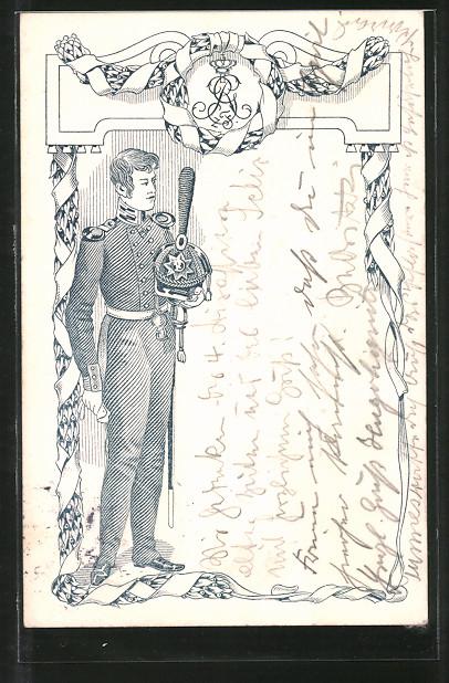 Künstler-AK Soldat der Befreiungskriege in Uniform