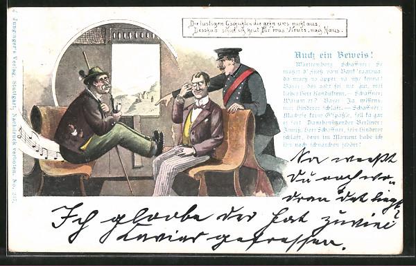 Lithographie Auch ein Beweis!, Württemberg, Schaffner weist Bayern darauf hin die Füsse von der Bank zu nehmen