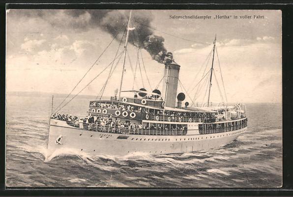 AK Salonschnelldampfer Hertha in voller Fahrt