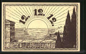 Künstler-AK Datum 12.12.12, Tief stehende Sonne