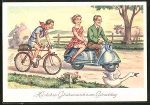AK Glückwunsch zum Geburtstage, Paar auf Motorroller und Radfahrer