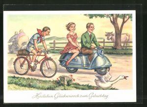 AK Glückwunsch zum Geburtstage, Motorroller und Radfahrer