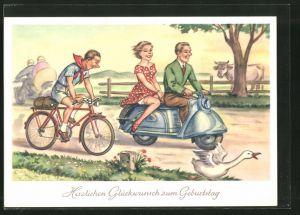 AK Glückwunsch zum Geburtstage, Motorroller und Radfahrer auf Landstrasse