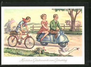 AK Glückwunsch zum Geburtstage, Junge Leute auf Motorroller und Radfahrer