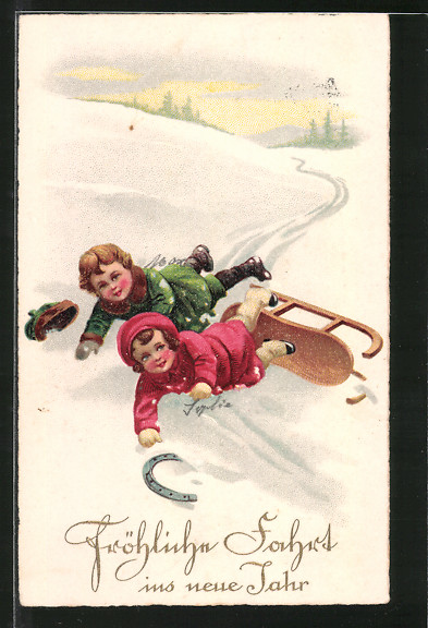 AK Fröhliche Fahrt ins neue Jahr, Kinder fallen von Schlitten