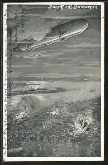 AK Deutscher Luftflottenverein, Angriff auf Antwerpen, Zeppelin